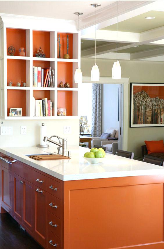burnt orange kitchen cabinets a burnt orange kitchen island and lining of the shelf for a cheerful touch burnt orange kitchen with white cabinets