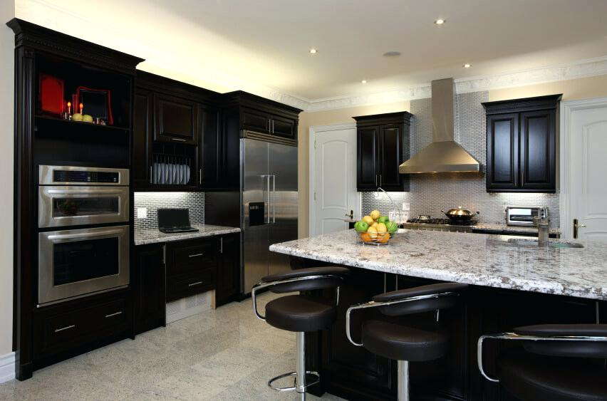 best backsplash for dark cabinets kitchen is great example of high contrast between dark toned wood cabinetry and light marble surfaces brick backsplash dark cabinets