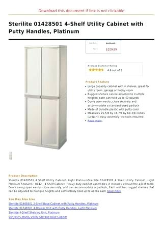 sterilite 01428501 4 shelf utility cabinet with putty handles platinum page 1 download this document if link is not clickable 4 shelf utility cabinet with putty handles platinum cabinets plus missoula