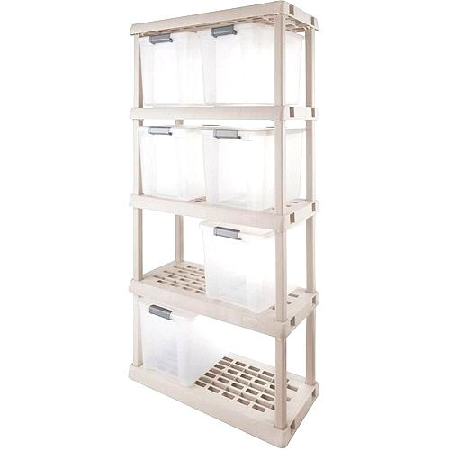 sterilite 01428501 4 shelf utility cabinet with putty handles platinum view larger storage shelves images cabinets shops near me